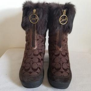 Coach Faith Zip Ftont Rabbit Fur Boot